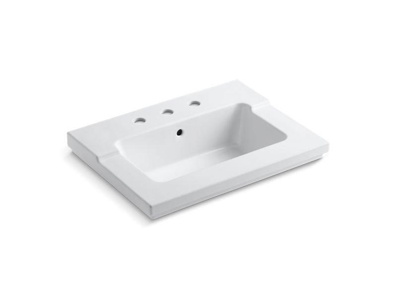 """Kohler K-2979-8-0 Tresham Vanity-Top Bathroom Sink with 8"""" Widespread Faucet Holes in White"""