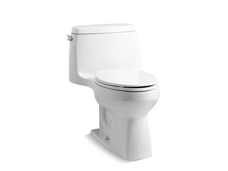 Kohler K-3810-0 Santa Rosa Comfort Height One-piece Compact Elongated 1.28 Gpf Toilet with Aqua piston Flushing Technology and Left-hand Trip Lever in White