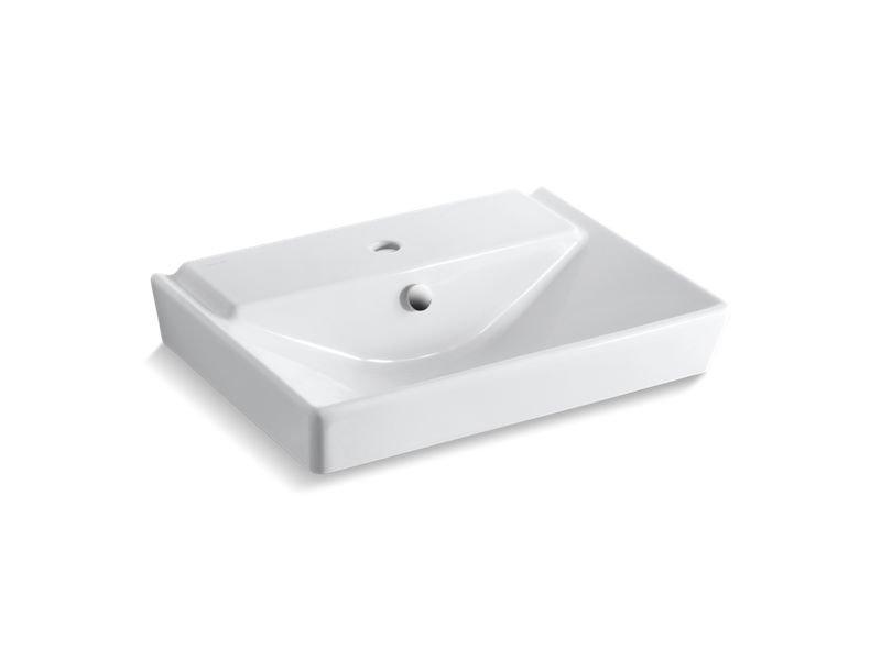 "Kohler K-5027-1-0 Reve 23"" Pedestal Bathroom Sink Basin with Single Faucet Hole in White"