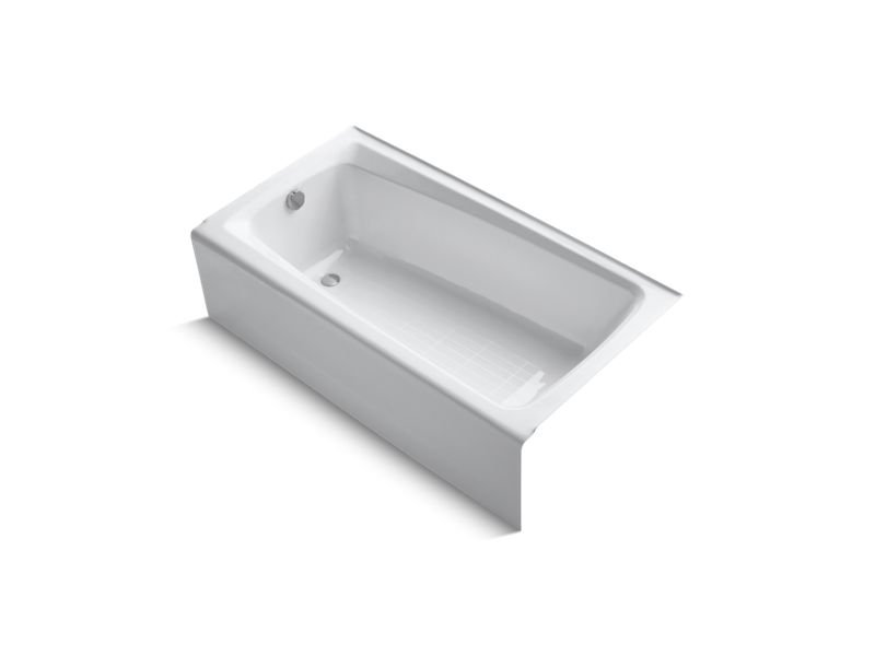 Kohler K-505-0 Mendota Alcove Bath with Integral Apron and Left-Hand Drain in White