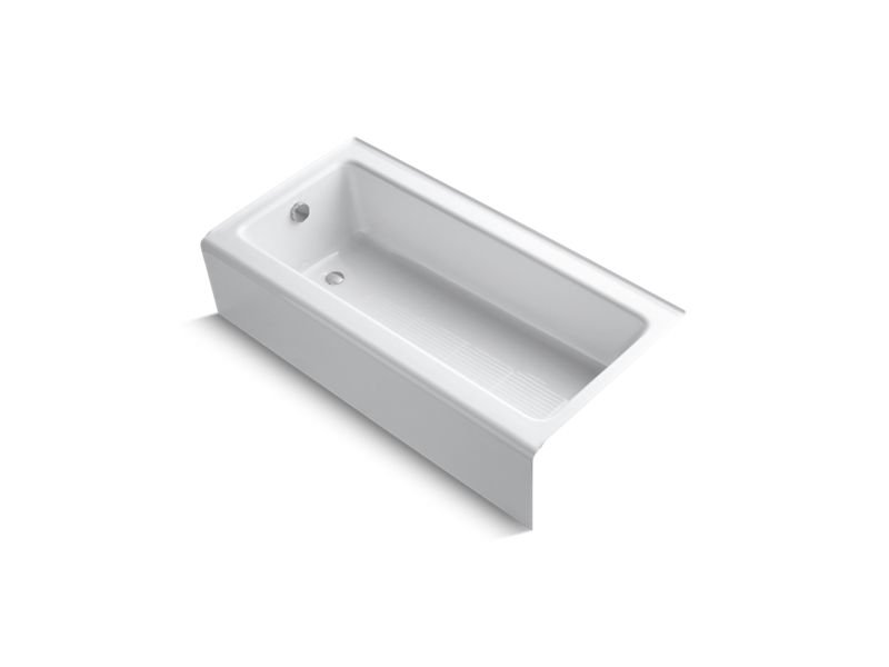 """Kohler K-837-0 Bellwether 60"""" x 30"""" Alcove Bath with Integral Apron and Left-Hand Drain in White"""