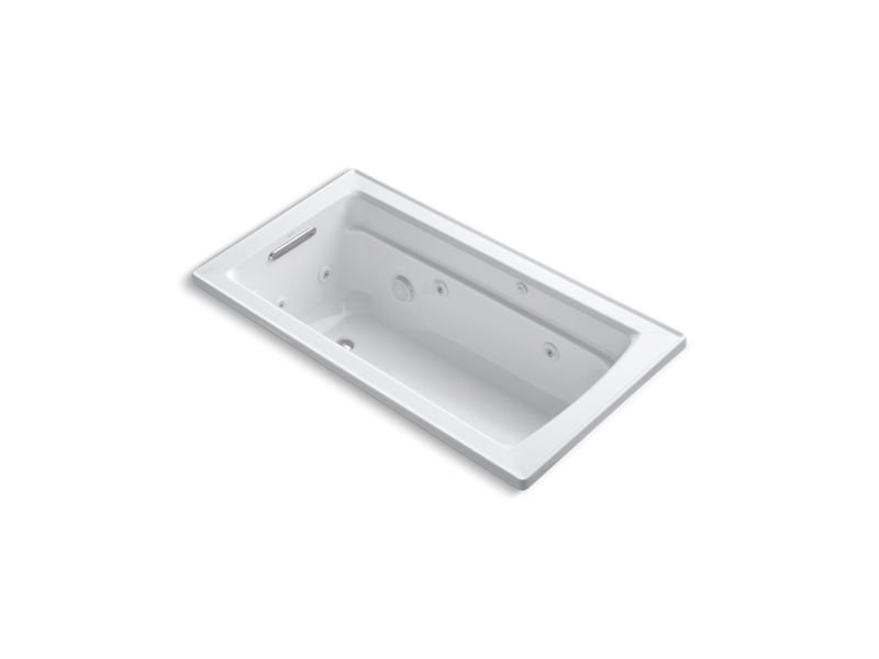 Kohler K-1122-W1-0 Archer Rectangular Drop-In Whirlpool Bathtub with Reversible Drain and Bask Heated Surface in White