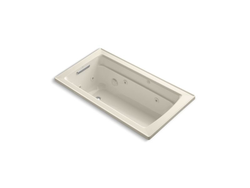 Kohler K-1122-W1-47 Archer Rectangular Drop-In Whirlpool Bathtub with Reversible Drain and Bask Heated Surface in Almond