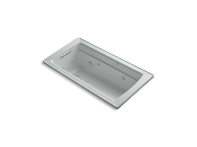 Kohler K-1122-W1-95 Archer Rectangular Drop-In Whirlpool Bathtub with Reversible Drain and Bask Heated Surface in Ice Grey