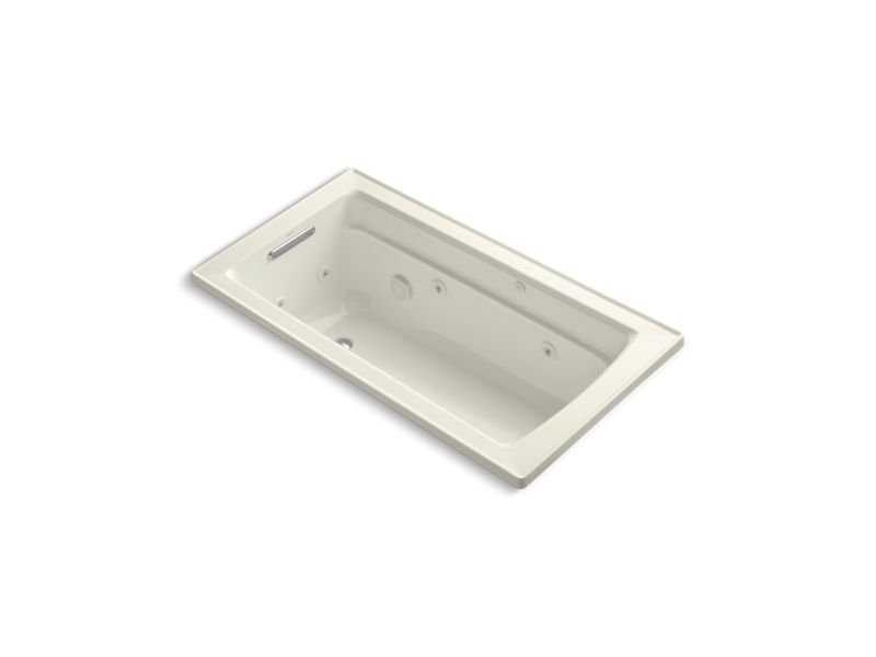 Kohler K-1122-W1-96 Archer Rectangular Drop-In Whirlpool Bathtub with Reversible Drain and Bask Heated Surface in Biscuit