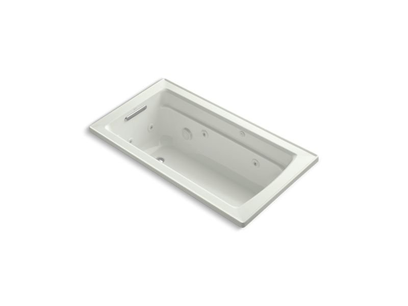 Kohler K-1122-W1-NY Archer Rectangular Drop-In Whirlpool Bathtub with Reversible Drain and Bask Heated Surface in Dune