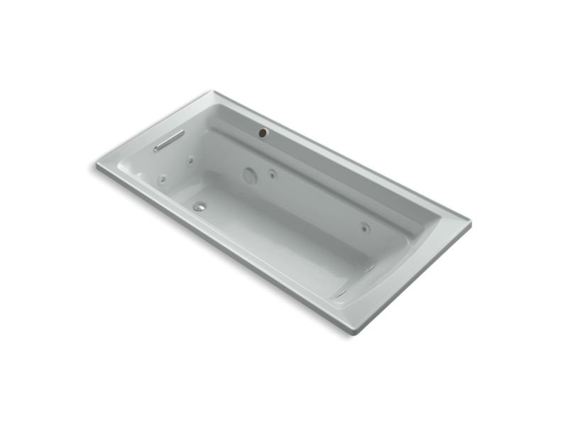 """Kohler K-1124-W1-95 Archer 72"""" x 36"""" Drop-In Whirlpool Bathtub with Reversible Drain and Bask Heated Surface in Ice Grey"""