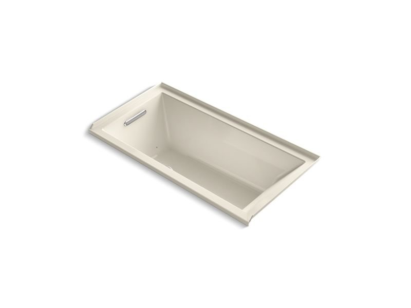 Kohler K-1167-LFG-47 Underscore Rectangle Alcove BubbleMassage Air Bath with Integral Flange and Left-Hand Drain in Almond
