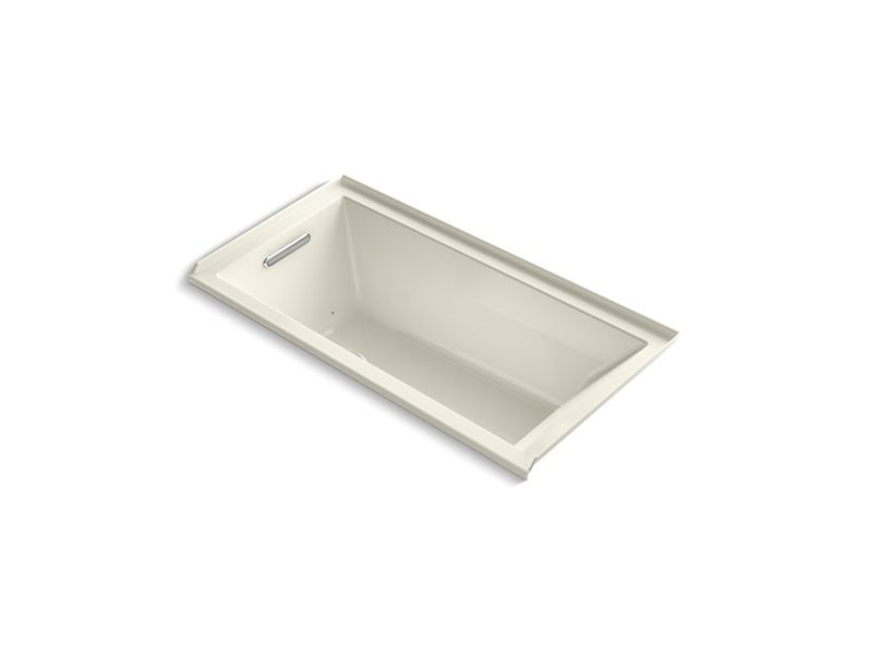 Kohler K-1167-LFG-96 Underscore Rectangle Alcove BubbleMassage Air Bath with Integral Flange and Left-Hand Drain in Biscuit