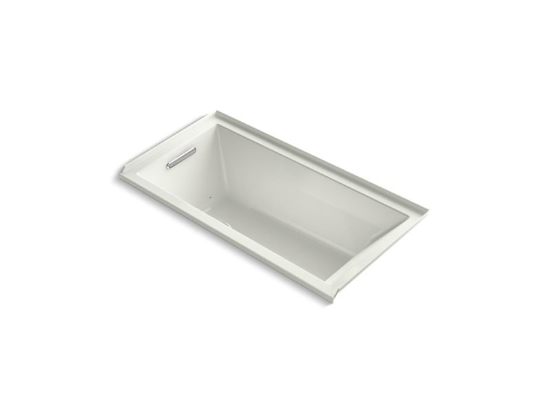 Kohler K-1167-LFG-NY Underscore Rectangle Alcove BubbleMassage Air Bath with Integral Flange and Left-Hand Drain in Dune
