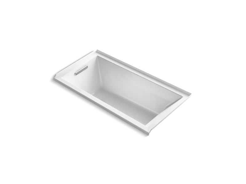Kohler K-1167-LVB-0 Underscore Rectangle Alcove Vibracoustic Bath with Left-Hand Drain in White