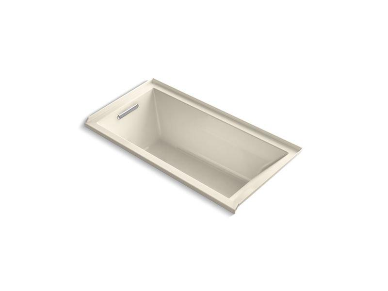Kohler K-1167-LVB-47 Underscore Rectangle Alcove Vibracoustic Bath with Left-Hand Drain in Almond