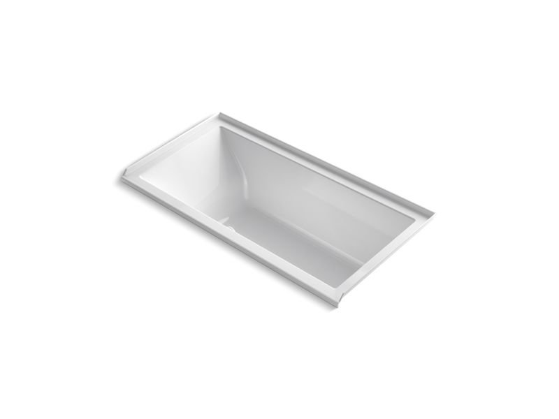 Kohler K-1167-RFG-0 Underscore Rectangle Alcove BubbleMassage Air Bath with Integral Flange and Right-Hand Drain in White
