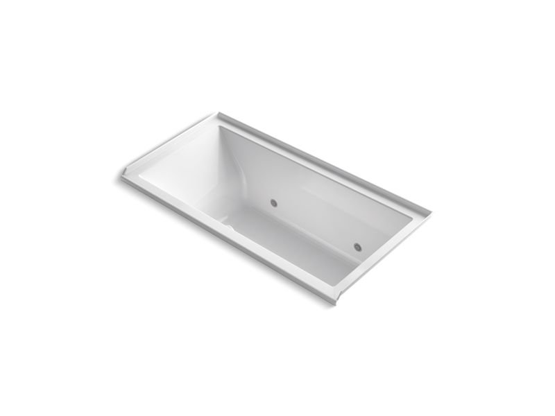 Kohler K-1167-RGCR-0 Underscore Rectangle Alcove BubbleMassage Air Bath with Integral Flange, Chromatherapy and Right-Hand Drain in White
