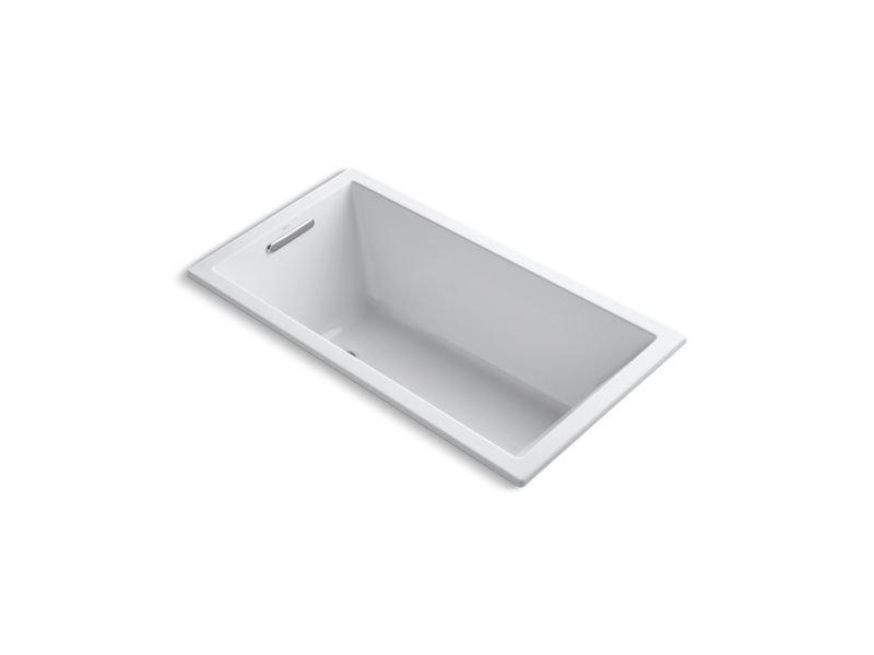 "Kohler K-1168-VB-0 Underscore Rectangle 60"" x 32"" Drop-In Vibracoustic Bath in White"