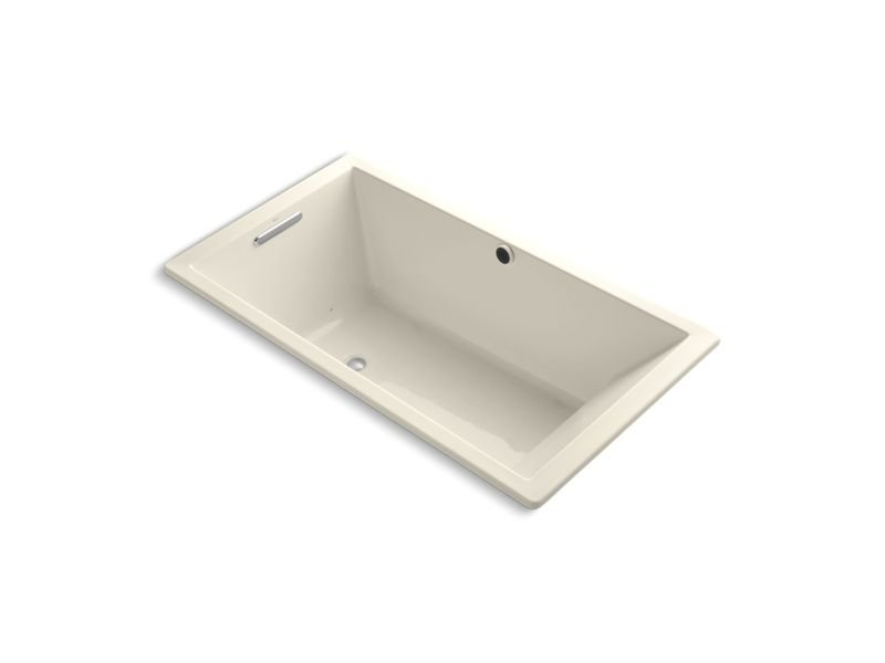 "Kohler K-1173-GW-47 Underscore Rectangle 66"" x 36"" Drop-In BubbleMassage Air Bath with Bask Heated Surface and Reversible Drain in Almond"