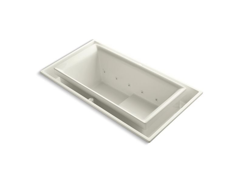 "Kohler K-1189-RE-96 Sok 75"" x 41"" Drop-In Effervescence Bath with Left-Hand Drain in Biscuit"