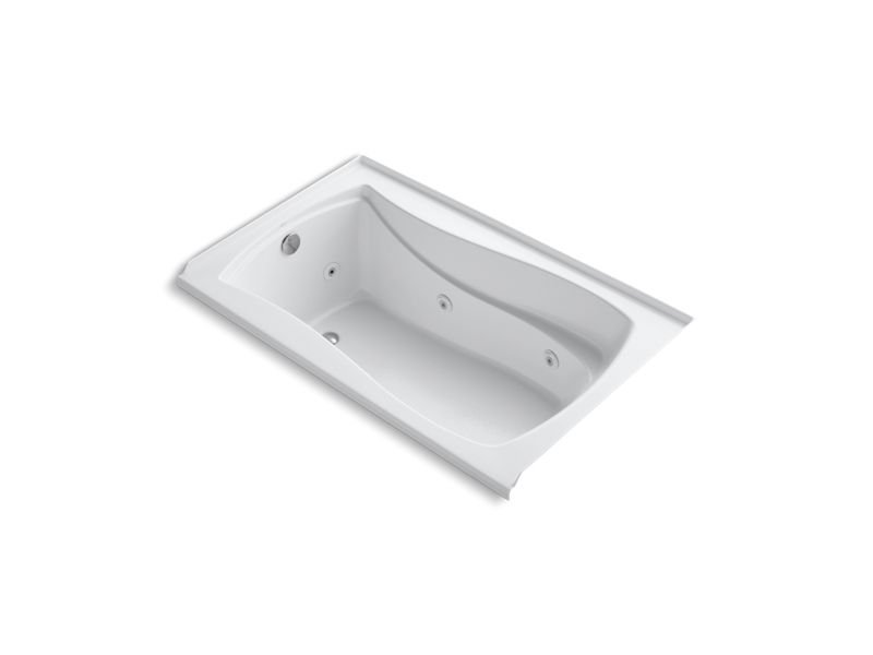 "Kohler K-1239-LW-0 Mariposa 60"" x 36"" Alcove Whirlpool with Bask Heated Surface, Integral Flange and Left-Hand Drain in White"