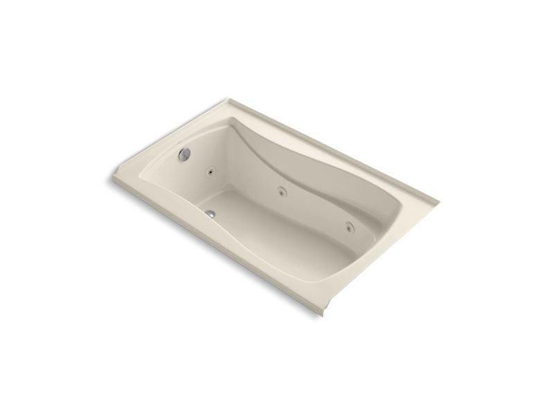 "Kohler K-1239-LW-47 Mariposa 60"" x 36"" Alcove Whirlpool with Bask Heated Surface, Integral Flange and Left-Hand Drain in Almond"