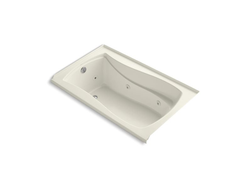 "Kohler K-1239-LW-96 Mariposa 60"" x 36"" Alcove Whirlpool with Bask Heated Surface, Integral Flange and Left-Hand Drain in Biscuit"