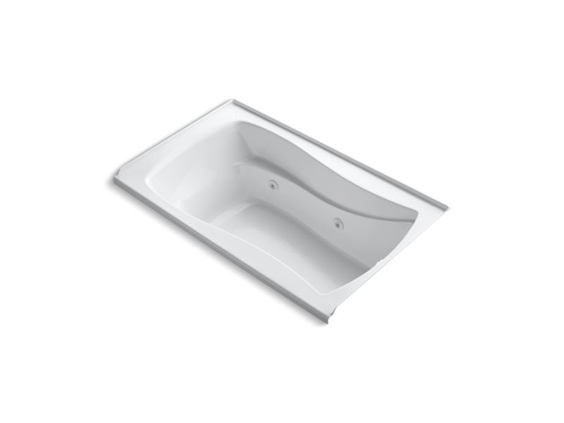 Kohler K-1239-RW-0 Mariposa 60 x 36 Alcove Whirlpool with Bask Heated Surface, Integral Flange and Right-hand Drain in White