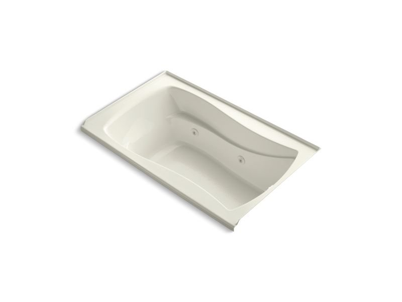 Kohler K-1239-RW-96 Mariposa 60 x 36 Alcove Whirlpool with Bask Heated Surface, Integral Flange and Right-hand Drain in Biscuit