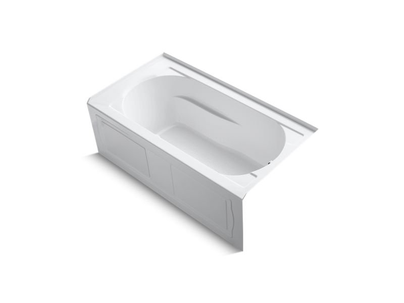 "Kohler K-1357-GRA-0 Devonshire 60"" x 32"" Alcove Bubblemassage Air Bath with integral Apron, integral Flange, Right-Hand Drain and Heater in White"