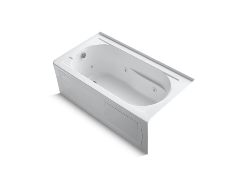 "Kohler K-1357-LAW-0 Devonshire 60"" x 32"" Alcove Whirlpool with integral Apron, integral Flange, Left-Hand Drain and Bask Heated Surface in White"