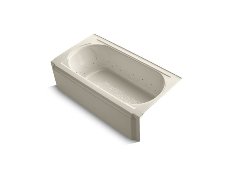 """Kohler K-724-GBN-47 Memoirs 60"""" x 34"""" Alcove Bubblemassage Air Bath with Vibrant Brushed Nickel Airjet Color Finish and Right-Hand Drain in Almond"""