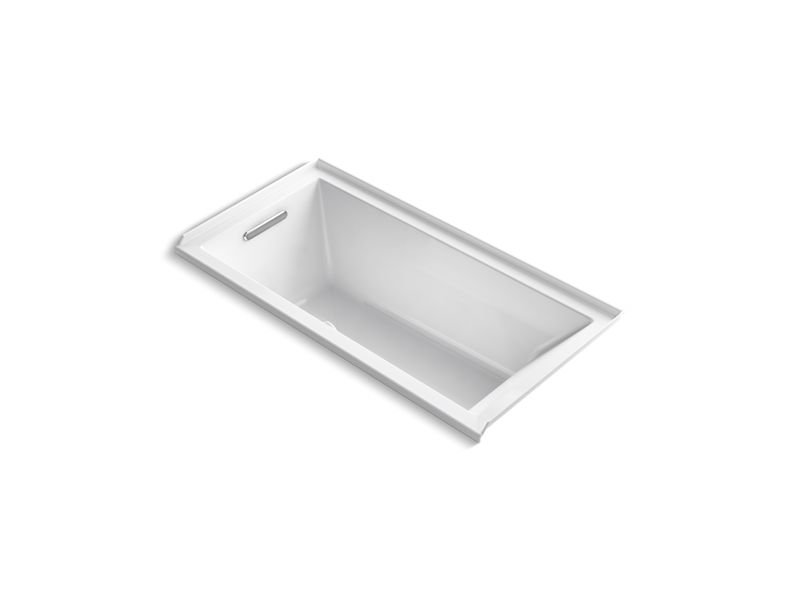 "Kohler K-1121-LW-0 Underscore Rectangle 60"" Alcove Bath with Bask Heated Surface in White"