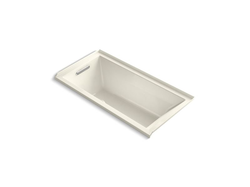 "Kohler K-1121-LW-96 Underscore Rectangle 60"" Alcove Bath with Bask Heated Surface in Biscuit"