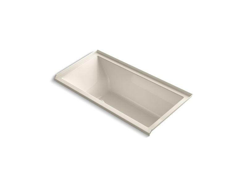 "Kohler K-1121-RW-47 Underscore Rectangle 60"" Alcove Bath with Bask Heated Surface-Hand Drain in Almond"