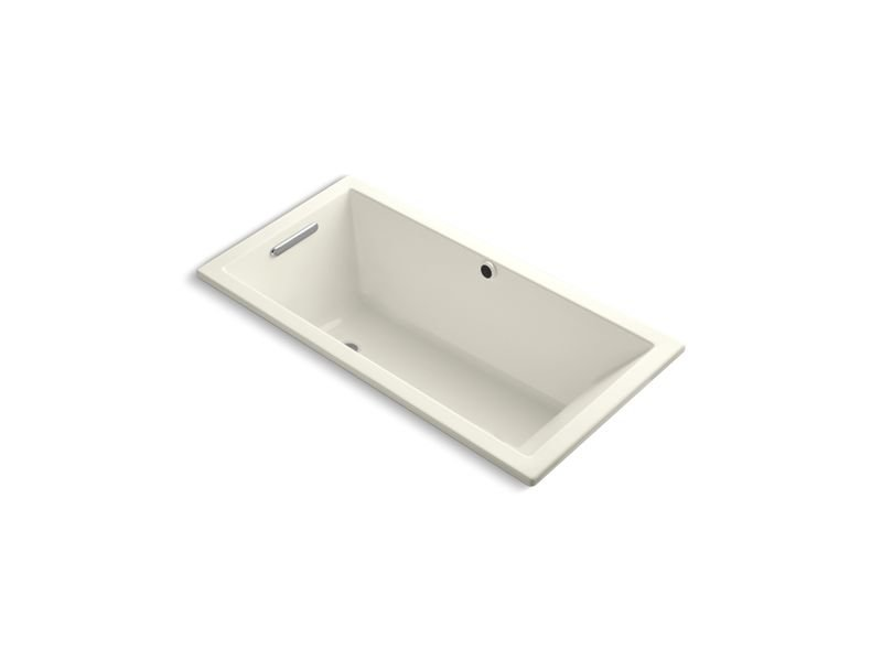 """Kohler K-1121-W1-96 Underscore Rectangle 60"""" Drop-In Bath with Bask Heated Surface and End Drain in Biscuit"""