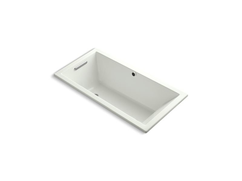 """Kohler K-1121-W1-NY Underscore Rectangle 60"""" Drop-In Bath with Bask Heated Surface and End Drain in Dune"""