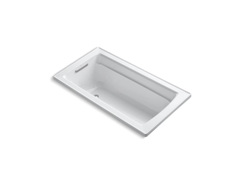 Kohler K-1123-W1-0 Archer Rectangular Drop-In Bath with Bask Heated Surface and Reversible Drain in White