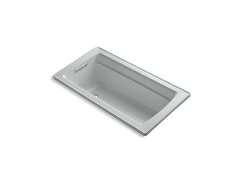 Kohler K-1123-W1-95 Archer Rectangular Drop-In Bath with Bask Heated Surface and Reversible Drain in Ice Grey