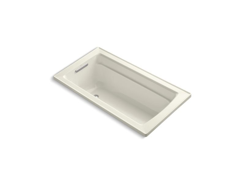 Kohler K-1123-W1-96 Archer Rectangular Drop-In Bath with Bask Heated Surface and Reversible Drain in Biscuit