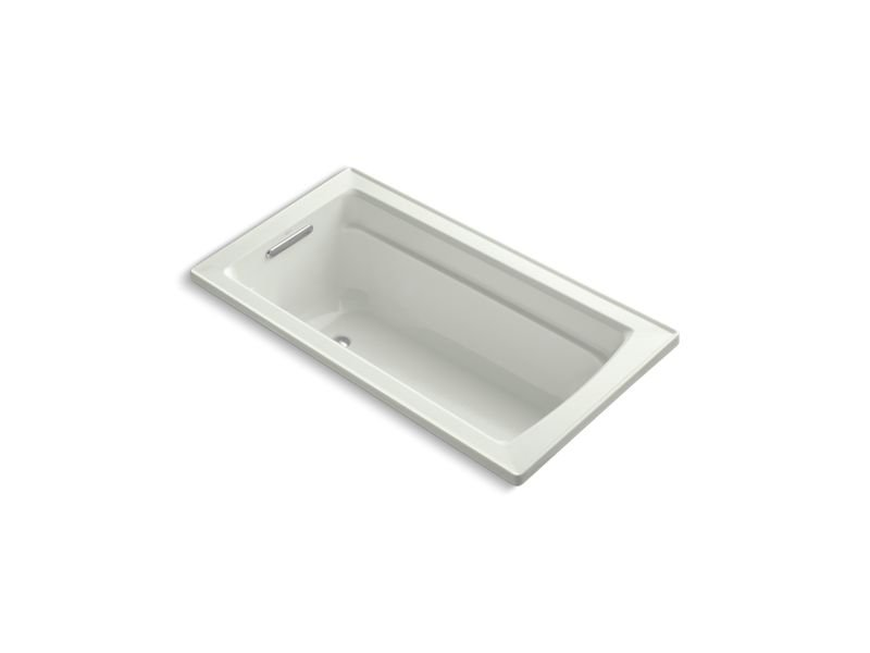 Kohler K-1123-W1-NY Archer Rectangular Drop-In Bath with Bask Heated Surface and Reversible Drain in Dune