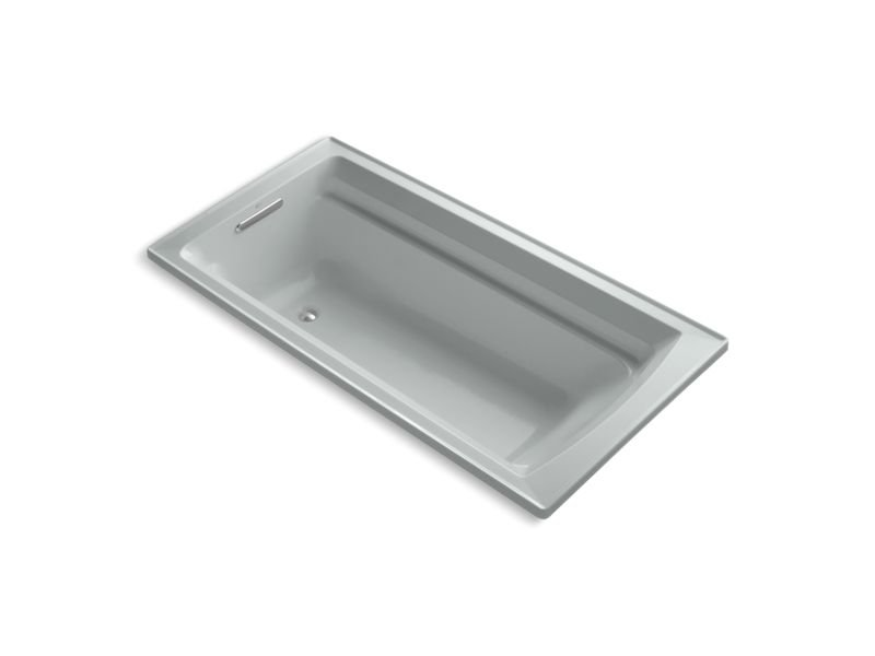 """Kohler K-1125-W1-95 Archer 72"""" x 36"""" Drop-In Bath with Bask Heated Surface and Reversible Drain in Ice Grey"""