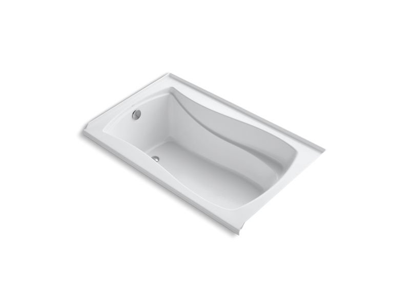 Kohler K-1242-LW-0 Mariposa 60 x 36 Alcove Bath with Bask Heated Surface and Integral Flange in White