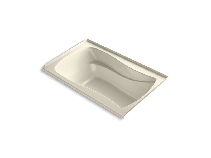 Kohler K-1242-RW-47 Mariposa 60 x 36 Alcove Bath with Bask Heated Surface, Integral Flange and Right-hand Drain in Almond