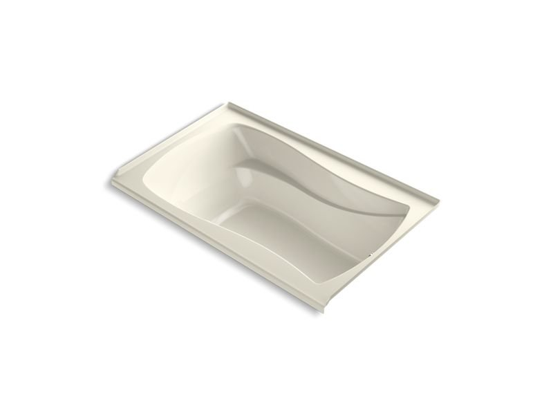 Kohler K-1242-RW-96 Mariposa 60 x 36 Alcove Bath with Bask Heated Surface, Integral Flange and Right-hand Drain in Biscuit