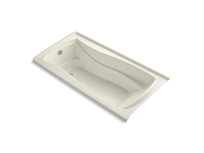 "Kohler K-1259-LW-96 Mariposa 72"" x 36"" Alcove Bath with Bask Heated Surface and Left-Hand Drain in Biscuit"