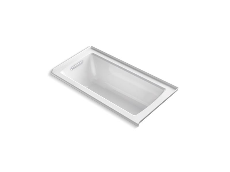 Kohler K-1946-L-0 Archer 60 x 30 Alcove Bath with Integral Flange and Left-hand Drain in White