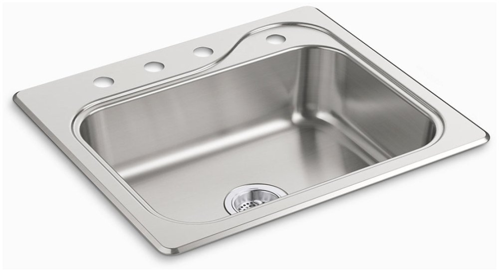 "Sterling Southhaven 11403-4-NA 25"" X 22"" 6-1/2"", 4-Hole, Satin Deck, Luster Bowl, Stainless Steel, Top Mount, 1-Bowl, Kitchen Sink"
