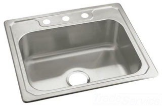 "Sterling Middleton 14711-3-NA 25"" X 22"" X 8"" Satin/Luster Stainless Steel 3-Hole 1-Bowl Kitchen Sink"