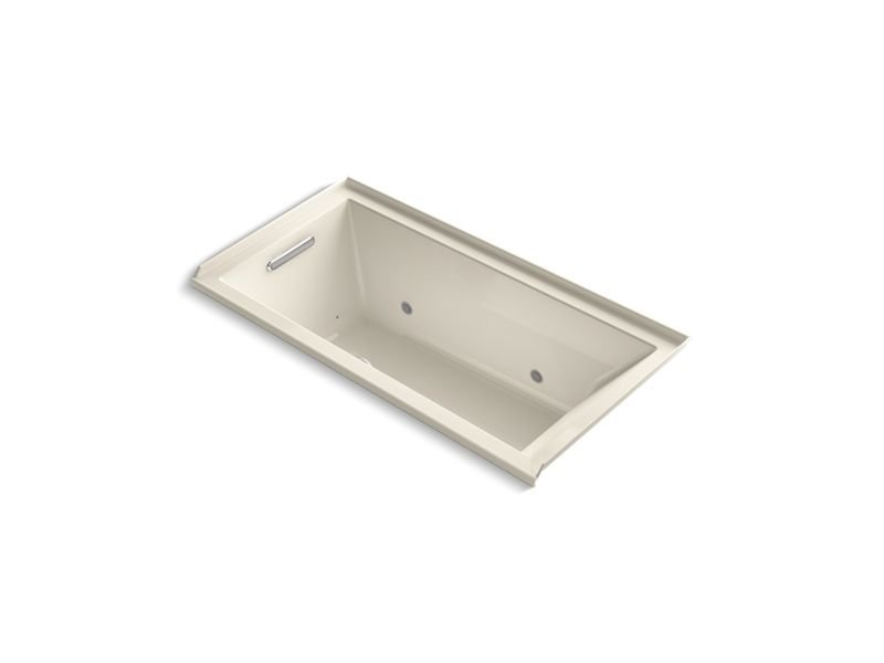 "Kohler K-1167-GCRLW-47 Underscore Rectangle 60"" x 30"" Alcove Bubblemassage Air Bath with Bask Heated Surface, Chromatherapy and Left-hand Drain in Almond"