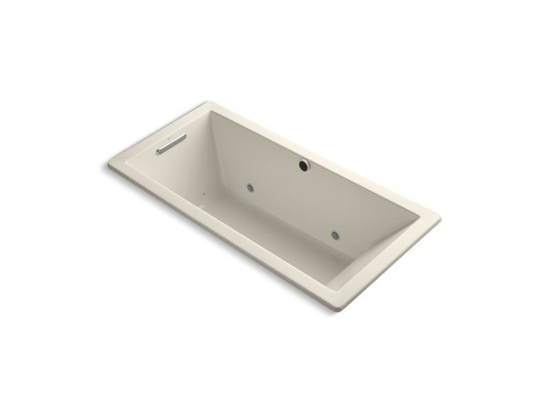 "Kohler K-1822-GCW-47 Underscore Rectangle 66"" x 32"" Drop-In Bubblemassage Air Bath with Reversible Drain and Bask Heated Surface in Almond"