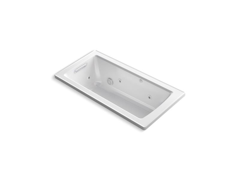 Kohler K-1947-H-0 Archer Drop-In Whirlpool with Heat and Comfort Depth Design in White