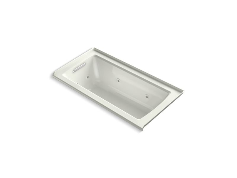 Kohler K-1947-L-NY Archer Alcove Whirlpool with Integral Flange and Left-Hand Drain in Dune